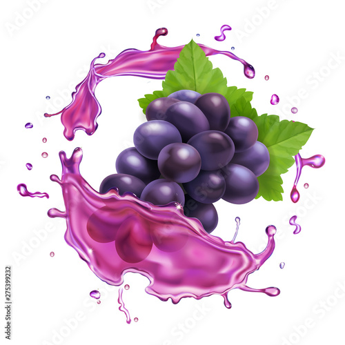 Red grape juice splash realistic vector icon Fototapet
