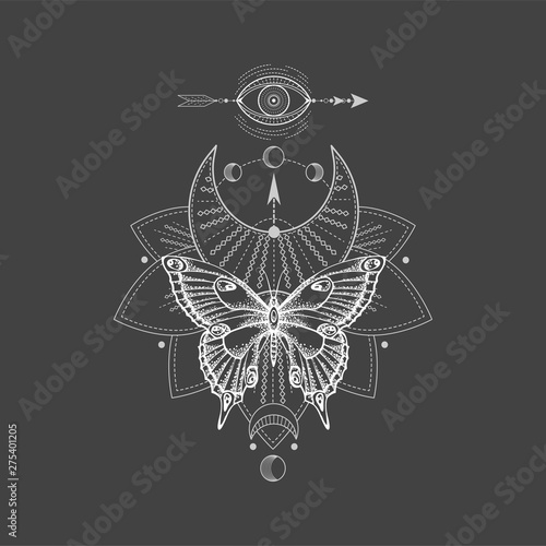 Poster Boho Stijl Vector illustration with hand drawn butterfly and Sacred geometric symbol on black background. Abstract mystic sign. White linear shape.