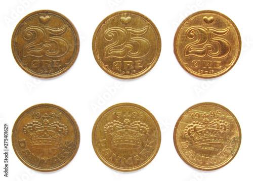Fotografia  Set of 3 (three) different years Danish 25 Ore 1994, 1995, 1996 years bronze coins lot, Denmark
