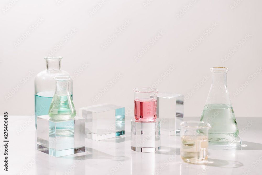 Fototapety, obrazy: Laboratory experiment and research with leaf,oil and ingredient extract for natural beauty and organic cosmetic skincare product the blank bottle for label science concept. alternative medicine. spa.