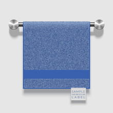 Vector Realistic Terry Towel With A Label Template Hanging On A Metallic Holder