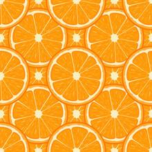 Seamless Pattern With Fresh Half Orange Fruit. Tangerine. Organic Fruit. Cartoon Style. Vector Illustration For Design, Web, Wrapping Paper, Fabric, Wallpaper.