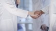 Panning close-up body shot of female physician, holding flipchart, shaking hands with new male colleague with dark skin, and welcoming him to hospital ward on first day at work