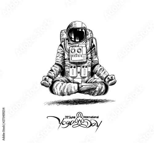 Tela Astronaut in spacesuit yoga gestures , Hand Drawn Sketch Vector illustration