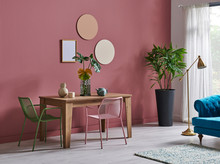 Pink And Red Living Room Style With Table Blue Classic Sofa And Wooden Table. Corner Of Room Decoration Style With Vase Of Plant. Gold Lamp.