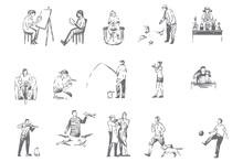 People Hobbies, Activities Concept Sketch