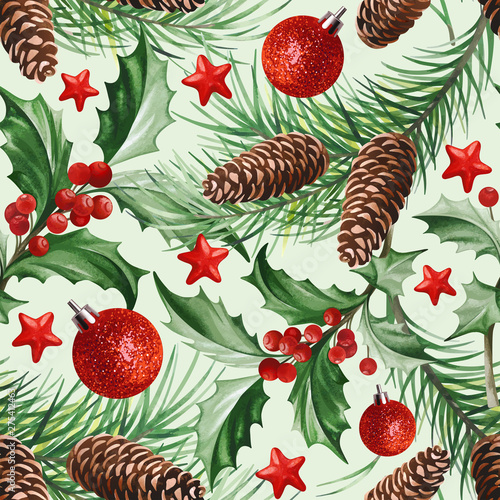 Seamless Pattern With Christmas Symbols Holly Leaves