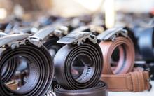 Many Leather Belts On A Market...