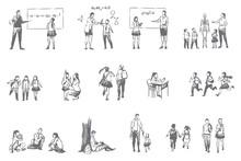 School Education, Student Life Concept Sketch