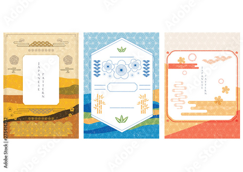 Poster Blanc Japanese template with pattern vector. Landscape background with Japanese icons.