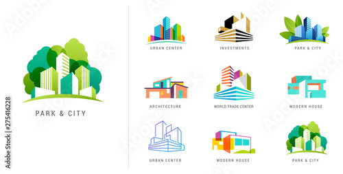 Real estate logo, building development, set of logos, icons and elements Wallpaper Mural