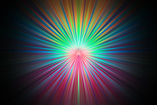 Bright Rays Of Different Colors Shine From The Center