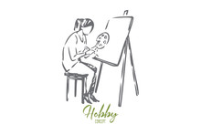 Painter Concept Sketch. Isolated Vector Illustration