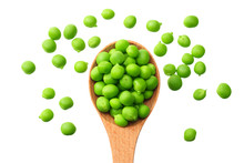 Fresh Green Peas In A Wooden Spoon Isolated On A White Background. Top View