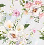 Akwarela kwiatowy wzór powtarzający się - 275422600