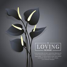 Black Anthurium Flower On Dark Background With In Loving Memory Text Vector Design