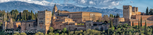 Alhambra fortress palace in Granada Spain at sunset