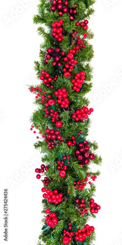 Carta da parati Christmas Garland with Red Berries Vertical Hang Isolated on White
