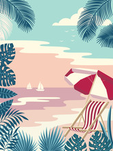 Summer Tropical Islands Background In The Daytime. Vector Illustration.