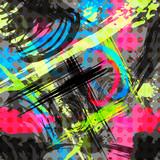 Fototapeta Młodzieżowe - Bright abstract geometric pattern in graffiti style quality illustration for your design