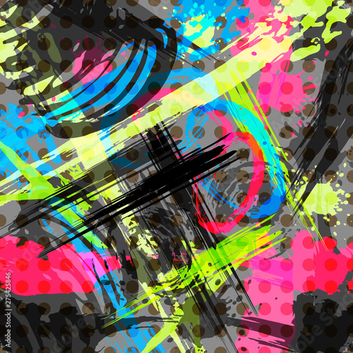 Bright abstract geometric pattern in graffiti style quality illustration for you Canvas Print