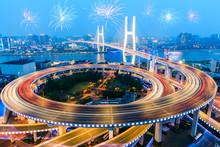 Beautiful Nanpu Bridge At Night,crosses Huangpu River,shanghai,China