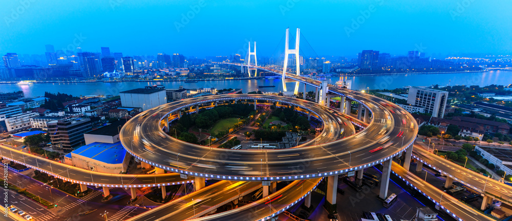 Fototapety, obrazy: beautiful nanpu bridge at dusk,crosses huangpu river,shanghai,China