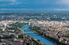 France, 15th And 16th Arrondissements Of Paris, View From The Eiffel Tower Toward The South-west Periphery (Seine River, Maison De La Radio)