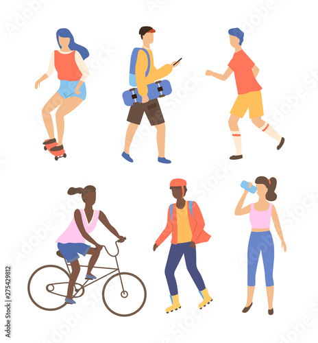 Photo Woman character driving by bicycle and skateboard, people drinking and running o