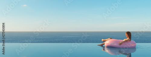 Fotografija 3D-Illustration of woman swimming on float in a pool.