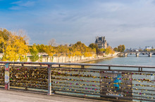 France, Paris, 1st And 7th Arrondissement, Love Locks On The Bridge Louis Sedar Senghor On The Seine River, And The Quai Des Tuileries In The Background
