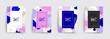 Set of sale brochures templates. Memphis cover template 30 off, 50, 70, 90 percent sale label symbols, discount promotion icon. Trendy colorful bubble shapes composition. Vector backgrounds.