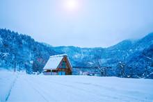 The Landscape Of Japan. Shirakawago Twightlight. Historic Village Of Shirakawago In Winter, Japan..