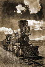 Simulated Early Photograph Of An American Steam Locomotive