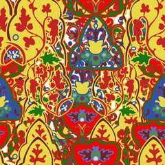 Colorful and ornate ethnic pattern. Mexican embroidery seamless pattern. Birds and flowers light background.
