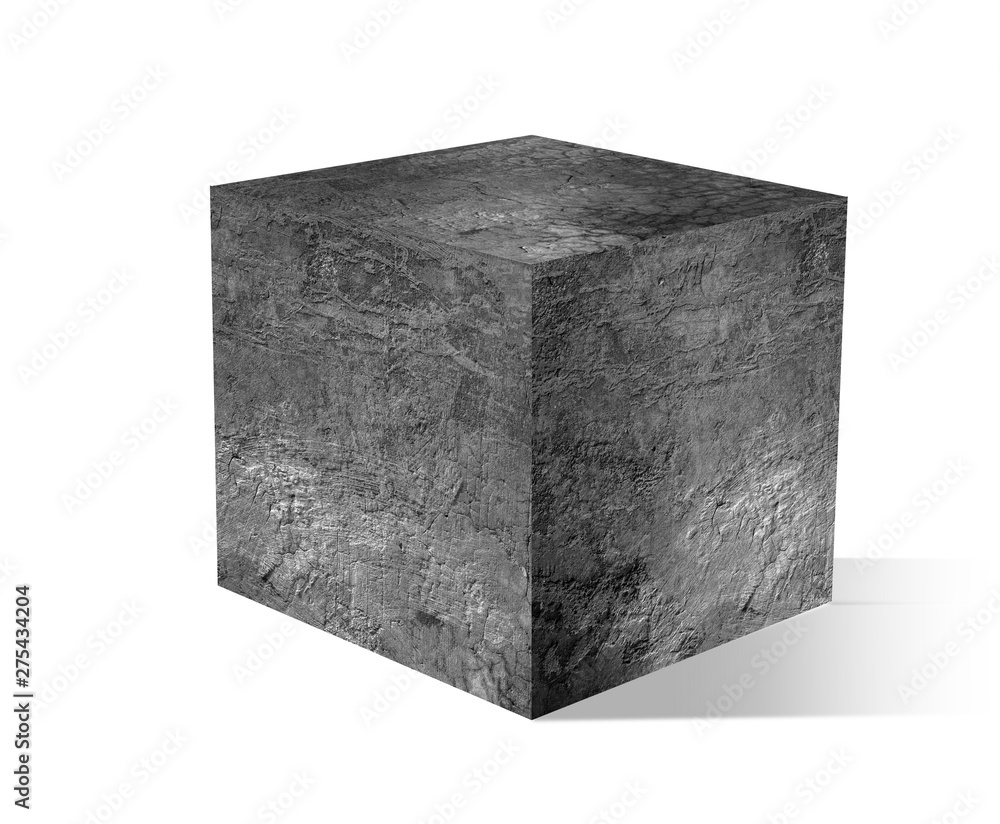 Fototapety, obrazy: gray cube with cement on white backgrounds