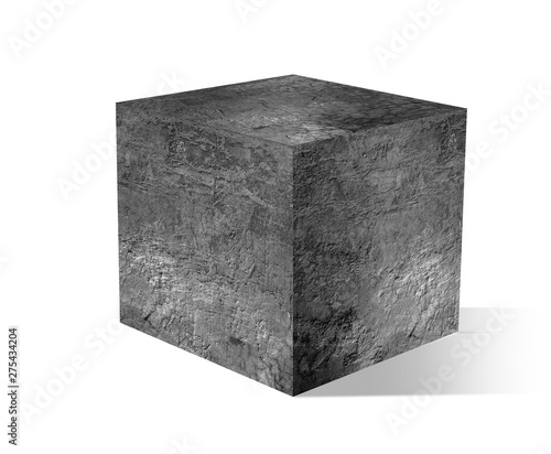gray cube with cement on white backgrounds Obraz na płótnie