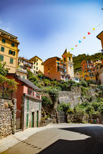 Manarola, Liguria, Italy - August 09, 2018 - View Of A Street And Church