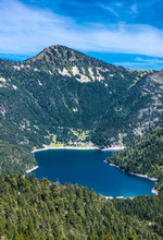 France, Hautes-Pyrenees, Haute Vallee D'Aure, Neouvielle National Nature Reserve, The Oredon Lake Seen From The Cap De Long Dam