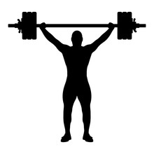 Vector Illustration Of Weightlifting Black Silhouette Isolated On White Background. Editable EPS File Available