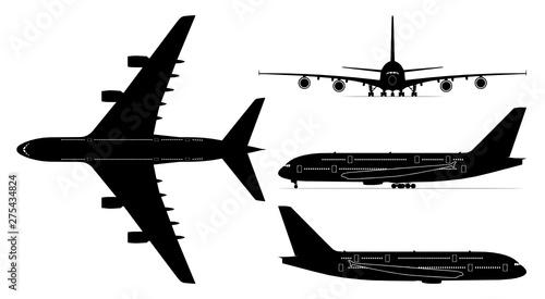 Obraz Vector set of four passenger jetliner illustrations (Airbus A380) isolated on white background. Editable EPS file available.  - fototapety do salonu