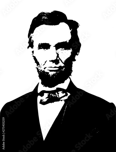Vector realistic style monochromatic illustration portrait of the american politician and president Abraham Lincoln Fotomurales