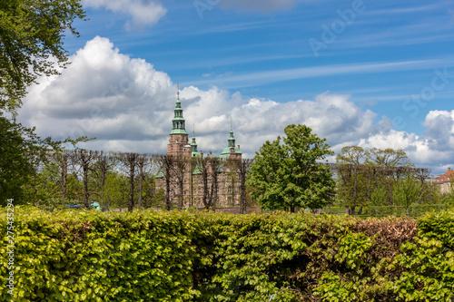 Denmark Copenhagen Rosenborg Castle and Gardens in summer blue cloudy sky Canvas Print
