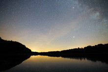 Bourgogne. Yonne (89). Region Of Saint Fargeau And Boutissaint. Bourdon Lake By Night. Stars And Milky Way.