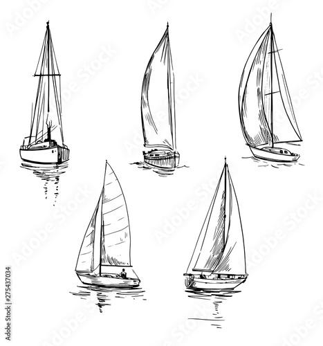 Set of outlines of yachts Obraz na płótnie