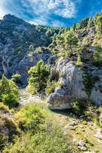 "France, Drome, The Provencal Baronnies Regional Natural Park, Ubrieux Gorge On The Ouveze River, ""Lou Passo D'Hannibal"" Climbing Site."
