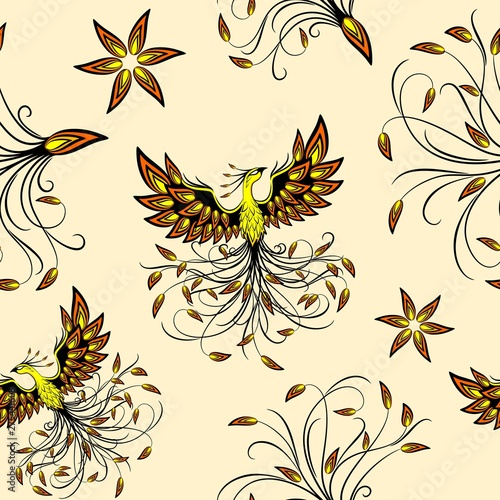 Foto auf AluDibond Ziehen Phoenix Mythical Creature Vector Seamless Pattern Background