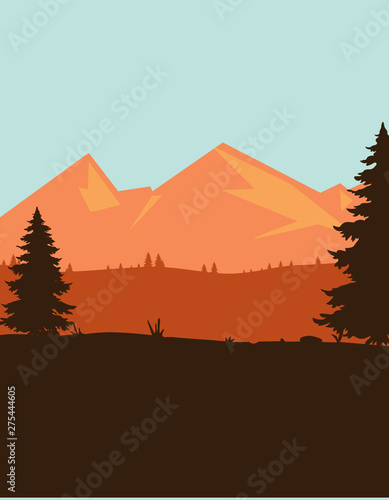 Garden Poster Chocolate brown Mountain view