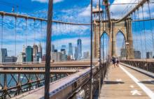 USA, New York, Manhattan, The Brooklyn Bridge (1883) And The Lower Manhattan Towers