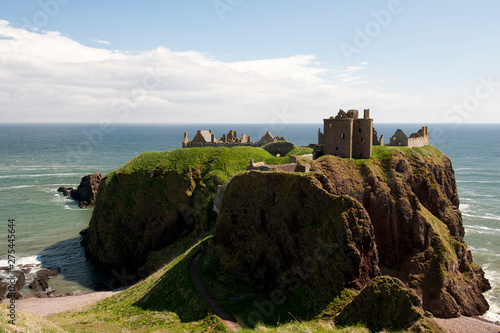 Remains of Dunottar castle facing Nord sea and once hosting crown jewels, Stoneh Canvas Print